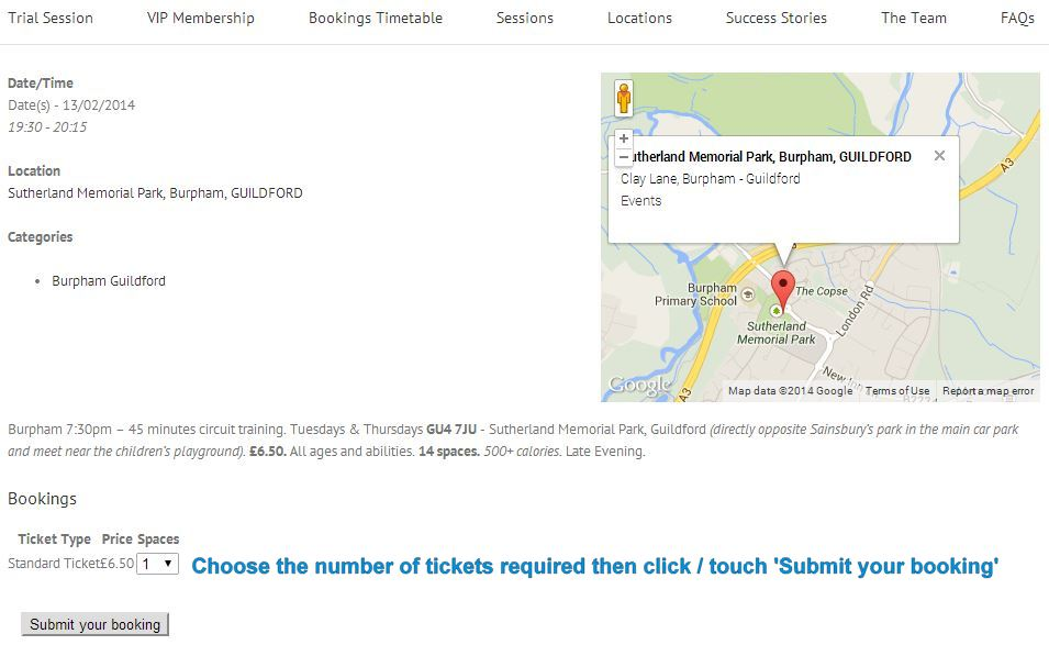 Event Page - Choose the number of tickets required (default is 1) and click 'Submit your booking'.