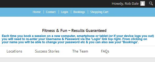 Login | Bookings Pages - Each time you book a session on a new device (of if you get logged out) you can click 'Login' using your password and username and also view your confirmed sessions under 'Bookings'.